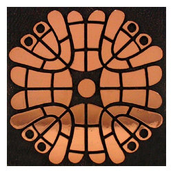 Decorative Accent Tile Metal Copper Geo Flower 17-110 - 4x4 Decorative metallic tile