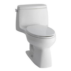 "Kohler - Kohler K-3811-0 White Santa Rosa Santa Rosa 1.6 GPF One Piece - Santa Rosa 1.6 GPF One Piece Elongated Comfort Height Toilet The Santa Rosa Comfort Height 1-pc compact elongated 1.6 gpf toilet offers the exceptional functionality you expect from Kohler in a smaller footprint, so you can transform even the smallest of bathrooms into a well designed, comfortable space.  Comfort Height Elongated Toilet bowl - With a seat height comparable to that of a standard chair, Comfort Height toilets make sitting down and standing up easier for people of all ages 12"" (30.5 cm) Rough-In Dimensions: 27-3/4"" Length x 18-3/4"" Width x 28-3/16"" Height Class Five - provides tremendous bulk waste flushing performance and best-in-class bowl cleanliness Canister flush valve provides smooth flushing actuation with consistent water usage, flush after flush Polished Chrome Trip Lever Includes Brevia with Q2 Advantage Seat Less supply  The K-3811 CAN NOT be sold to CA or TX as it is a 1.6 gpf tank. CA & TX buyers please refer to the K-3810 which is a 1.28 gpf toilet."