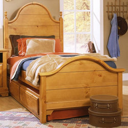 Vaughan Bassett - Youth Panel Bed w Trundle in Pine Finish (Twi - Choose Bed Size: TwinIncludes double slotted panel bed and trundle unit with face panel. Headboard and footboard have double slots for height adjustments. Twin Size: (double slotted). Includes panel headboard, panel footboard and wood rails with 3 1-inch slats. Panel headboard: 41 in. L x 2 in. W x 58 in. H. Panel footboard: 43 in. L x 2.5 in. W x 29 in. H. Full Size: (double slotted). Includes panel headboard, panel footboard and wood rails with 3 1-inch slats. Panel headboard: 56.75 in. L x 2 in. W x 62 in. H. Panel footboard: 58.5 in. L x 2.5 in. W x 29 in. H. Wood rails: 76 L x 6 in. W x 1 in. H. Pine finish. Assembly required