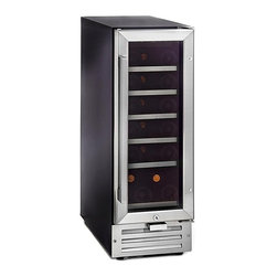 Whynter - 18 Bottle Compressor Built-In Wine Refrigerator - 19 standard 750 ml wine bottle capacity. Stainless steel trimmed glass door with sleek black cabinet. Luxurious stainless steel L-bar handle. Tempered double pane gray-smoked glass for enhanced UV protection. Digital LED temperature control with temperature range from 40ºF - 65ºF. Soft interior LED lighting with on/off switch. Powerful fan-circulated compressor cooling ensures even temperature distribution. Auto defrost. 7 Removable scalloped chrome racks in the unit allow for maximum storage capacity. Optional humidity control tray. Activated carbon filter. Security lock and key. Fahrenheit and Celsius degree temperature indicators. Six removable flat slide out chrome shelves. Top shelf: 3-Bottle capacity (if humidifying tray installed, 2 bottles). Shelf two through five: 3-Bottle capacity. Bottom shelf: 4-Bottle capacity. Voltage: 115V /60Hz. Power: 130 Watts / 1.6 Amps. ETL listed. 1-Year warranty. 24.25 in. L x 12 in. W x 34 in. HThe Whynter Built-in under counter wine refrigerator offers premium quality and innovative design ideal for your wine collecting needs. Whether for the enthusiast or the connoisseur, the Whynter built-in under counter wine refrigerator provides affordable yet advanced wine storage functionality. The powerful compressor cooling system offers optimum temperature (high 30ºF to mid 60ºF) for red, white, and sparkling wines. The front ventilation design of this unit allows for flush with cabinet under counter installation or simply freestanding usage.