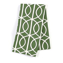 Green Modern Trellis Custom Napkin Set - Our Custom Napkins are sure to round out the perfect table setting'whether you're looking to liven up the kitchen or wow your next dinner party. We love it in this rounded trellis in emerald green & white on soft lightweight line. your gateway to a chic modern look.