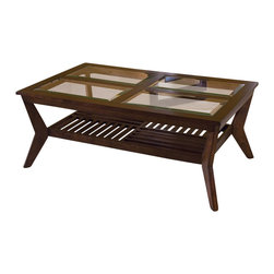 Standard Furniture - Standard Furniture Norway 3-Piece Coffee Table Set in Merlot - Norway, a casual style with unique architectural elements. Beveled glass inserts are removable for easy cleaning. Slat style design on the tables bottom shelf gives the group a light and open feel. Bottom shelf is ideal for displaying special items. Bass color veneers over wood products and select solids are used throughout. Rich merlot color finish. Surfaces clean easily with a soft cloth. Group may contain some plastic parts.