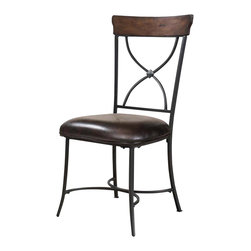 """Hillsdale Furniture - Hillsdale Cameron X-Back Dining Chair (Set of 2) in Chestnut Brown - Hillsdale's Cameron collection beautifully combines a warm chestnut brown wood finish with a dark grey metal and offers a multitude of choices to create the perfect dining group for your home. Starting with the chairs, you have the choice of three lovely designs: The X-Back chair combines a warm chestnut brown top accent with a transitional metal X in the center of the back and a brown faux leather seat. The parson's chair is traditional in design and combines the warm chestnut brown finish with the brown faux leather seat. The ladder back chair features 3 rungs in the chestnut brown finish, enhanced by the dark grey metal and brown faux leather seat. Now that you have decided on your chair, let's look at the table options: The stunning rectangle table features a wood top that is generously scaled to easily accommodate 6. The simple round table features a 48"""" diameter wood top with flared metal legs. The round wood table is 48"""" in diameter and features a wonderful metal accent on the base."""