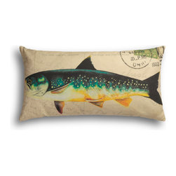 "Carrier Collective - ""Fish"" Lumbar Pillow - Crafted of linen/cotton fabrics, Carrier Collective Art Pillows are created from the original Mixed Media and Acrylic Paintings of the artist/owner Angie Carrier."