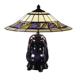 Dale Tiffany - Dale Tiffany TT100507 Reiko Ceramic 2-Light Table Lamps in Blue/Purple Glaze - Reiko Ceramic Table Lamp