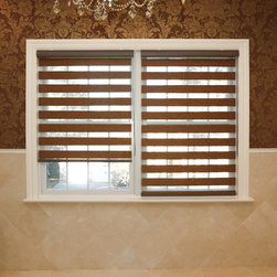 None - Premium Duo-roller Brown Wood Look Window Shade - Control the amount of light and privacy in your kitchen,bedroom,office or living area with these brown duo-roller window shades. Designed to look like wood,these premium polyester shades include a child safety tension device.