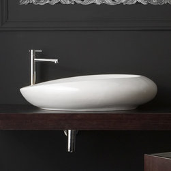 Scarabeo - Oval Shaped White Ceramic Vessel Bathroom Sink - Oval shaped white ceramic vessel bathroom sink. Stylish round over the counter sink has no overflow. Made in Italy by Scarabeo. Made out of white ceramic. Contemporary design. Without overflow. Standard drain size of 1.25 inches.