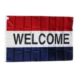 Flagline - Welcome -3'X5' Nylon Flag (red/white/blue) - These 3x5' commercial message flags grab the attention of viewers and let them know at a glance what your business is all about. This series of flags is made to endure the weather, being made of Nylon with a canvas header and brass grommets.The message flags consist of your text on white between two colored bands. Made in the USA!