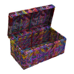 Modelli Creations - Chindi Box, Large - Looking for a colorful and fun way to add storage? These boxes made of iron and recycled fabrics woven into Chindi Rope can serve as the perfect toy box or treasure chest for a kids room or vibrant storage trunk for your bohemian home.