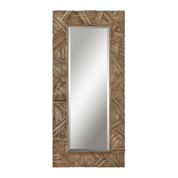 Antiqued Light Walnut Mirror with Burnished Details - Antiqued Light Walnut Mirror with Burnished Details