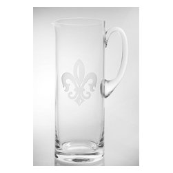 Rolf - Grand Fleur De Lis Etched Pitcher - The Fleur de Lis has come to symbolize all that is refined and pure in life. This drink pitcher epitomizes the essence of the French Symbol through its grand etched design and elegant cut, it is durably crafted of glass to hold a generous batch of refreshing sangria, lemonade, ice tea or water. With its classic good looks and ergonomic handle that makes it easy to lift and pour, this is a pitcher of substance. * Capacity: 35 oz.