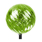 """Exhart - Solar Green Medium Spiral Org Garden Stake - Medium Solar Spiral Orb Garden Stake. Stands 34"""" tall. Is a great piece to decorate any yard or garden. Made in China"""