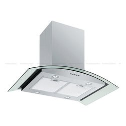 "Spagna Vetro - SPAGNA VETRO 36; SV198D-I36 Island-Mounted Stainless Steel Glass Range Hood - Mounting version - Island Mounted860 CFM centrifugal blower Three-speed mechanical, soft-touch push button control panel Four 35W halogen lights (Type: GU-10) Aluminum multi-layers micro-cell dishwasher-friendly grease filter(s) Machine crafted stainless steel (brushed finish) 6"" round duct vent exhaust and back draft damper Convertible to duct-free operation (requires optional charcoal filter) Telescopic flue accommodates 8ft to 9ft ceilings (optional flue extension available for up to 10ft ceiling) Tempered Glass Canopy For residential use only, one-year limited factory warranty"