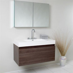 Fresca - Fresca Mezzo Gray Oak Modern Bathroom Vanity with Medicine Cabinet - This vanity is striking in its simplicity. It features a beautiful widespread chrome faucet. Don't forget to check under the hood with the innovative storage system that includes a nested drawer. It also features a medicine cabinet that can be either wall mounted or recessed into a wall. The Mezzo is a larger version of the Nano Vanity. Optional side cabinets are available. Features MDF/Veneer with Acrylic Countertop/Sink with Overflow Nested Drawer Storage System (Soft Closing Drawers) Widespread Faucet Mount P-trap, Faucet/Pop-Up Drain and Installation Hardware Included How to handle your counter Installation GuideView Spec Sheet