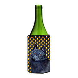 Caroline's Treasures - Schipperke Candy Corn Halloween Portrait Wine Bottle Koozie Hugger - Schipperke Candy Corn Halloween Portrait Wine Bottle Koozie Hugger Fits 750 ml. wine or other beverage bottles. Fits 24 oz. cans or pint bottles. Great collapsible koozie for large cans of beer, Energy Drinks or large Iced Tea beverages. Great to keep track of your beverage and add a bit of flair to a gathering. Wash the hugger in your washing machine. Design will not come off.