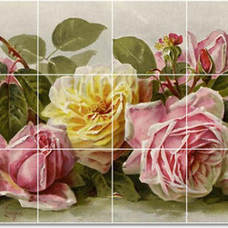Picture-Tiles, LLC - Flowers1 Tile Mural By Paul De Longpre - * MURAL SIZE: 18x36 inch tile mural using (18) 6x6 ceramic tiles-satin finish.