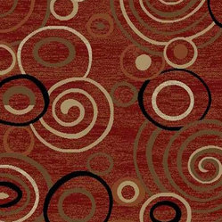 Ottomanson - Dark Red Contemporary Scrolls Design Rug - Royal Collection offers a wide variety of machine made modern and oriental design area rugs with durable, stain-resistant pile in trendy colors.