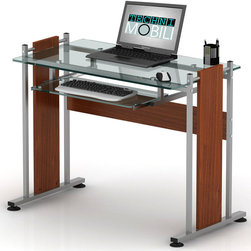 RTA Products - Techni Mobili Glass-Top Computer Desk - Mahogany - This Techni Mobili Glass-Top Computer Desk combines style and quality with a simple design made of heavy-duty engineered wood panels with a moisture resistant PVC laminate veneer, a scratch-resistant powder-coated steel frame, and a heavy-duty 8 mm tempered safety glass desktop and a slide-out keyboard shelf equipped with a safety stop. The spacious desktop, which is large enough for dual monitors, has an 80 lb weight capacity and keyboard shelf holds up to 30 lbs.