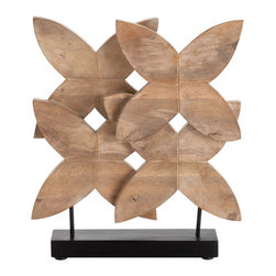 Kathy Kuo Home - Ella Modern Floral Carved Wood Sculpture on Stand - Hewn in the golden tones of naturally waxed wood, a joyful floral silhouette takes shape.  The result is a delightful piece of decorative sculpture which would be perfect in a variety of contemporary settings.