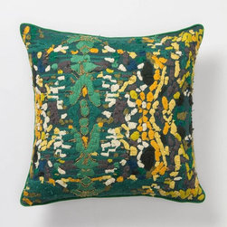 Switchgrass Square Pillow - This pillow looks like a piece of Impressionist artwork! Inspired by lush greenery, it would bring a bit of artistic and natural influence into any home.