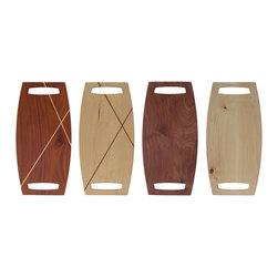 Roberts Barstool by Tronk Design - Side by side, here are the four seat options for the cool Roberts Barstool--walnut with maple inlay, maple with walnut inlay, solid walnut and solid maple.