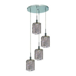 Lighting By Pecaso - Wiatt Hanging Fixture Round Canopy D9.5 H12-48 Round Pendant Lt:4 Chrome Finish - ChainWire Incuded  4 ft, Bulb Type GU10, Bulb Wattage 50, Max Wattage 200, Voltage 110V125V, Finish Chrome, UL  Ulc Standard  YES, UL  Ulc Standard  YES