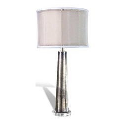 Kathy Kuo Home - Silver Mercury Glass Contemporary Table Lamp - The Silver Rain Glass Lamp flaunts a statuesque form that produces an elegant shadow.  The tapered, cylindrical form is tall and strong, supported by a round base and finished in a striking antique silver color that is contrasted by a comparatively delicate nougat-colored shade.  This lamp will really stand out against dark décor and is sure to accent any modern interior.