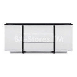 New Spec Modern Cabinet in Black and White Glossy Finish -