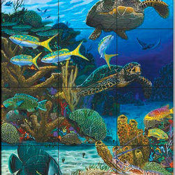 The Tile Mural Store (USA) - Tile Mural - Caymen Turtles - Cc - Kitchen Backsplash Ideas - This beautiful artwork by Carey Chen has been digitally reproduced for tiles and depicts a couple of seaturtles on the reef.  Our tiles with sea turtles are a great way to add something unique to your kitchen backsplash tile project. Make your tub and shower surround bathroom tile project exceptional with one of our decorative tile murals of sea turtles. Decorative tiles with turtles are beautiful and timeless and will never go out of style. Make a seaturtle tile mural part of your bathroom wall tile and enjoy this tile mural every day in your newly renovated bathroom.