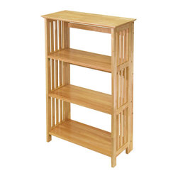 Winsomewood - Mission 4-Tier Shelf - Nice and sturdy folding bookshelf-convenient to re-locate. Solid wood construction. Mission style. 4-Tier shelf.