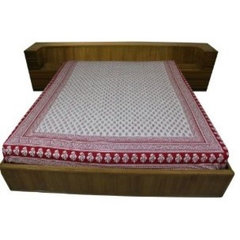 Bed Sheets Flat Cotton Block Print from India Queen Size: Amazon.co.uk: Kitchen