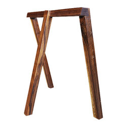 2131 - Walnut Tressle Legs - These walnut tressle legs are perfect for creating a table with any top of your choosing. Simply purchase a marble, glass, or wood top of any size and place it on top for a versatile and beautiful piece. Each piece has 3 legs, with one placed in the middle to maximize the space in which a chair can be pushed beneath the table. Use these to set up a dining table or a work station, and enjoy the versatility it allows for quickly moving or relocating.