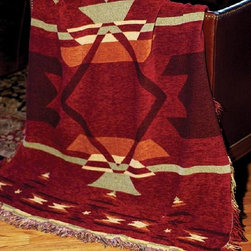 Manual - Flame Southwestern Print Chenille Tapestry Throw Blanket 50 Inch x 6 Inch - This multicolored woven tapestry throw blanket is a wonderful addition to your home or cabin. Made of chenille, the blanket measures 50 inches wide, 60 inches long, and has approximately 1 1/2 inches of fringe around the border. The blanket features a red, dark red and green Southwestern print. Care instructions are to machine wash in cold water on a delicate cycle, tumble dry on low heat, wash with dark colors separately, and do not bleach. This comfy blanket makes a great housewarming gift that is sure to be loved.