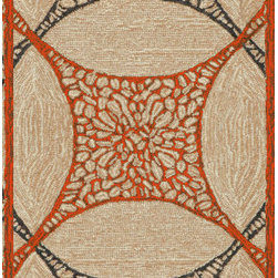 """Trans-Ocean - 24""""x96"""" Carlton Interlace Orange Rug - Classic pattern and colors aligned with Brown Jordan's design aesthetic are used in these sophisticated stylish rugs.These Tufted loop construction rugs are hand crafted in China of high quality synthetic materials.This indoor/outdoor collection is designed as a companion to Brown Jordan's outdoor furniture collections.  The rugs are durable, easy to clean, and UV stabilized to minimize fading. Made in China."""
