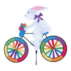 Premeir Designs - Bunny Bicycle Spinner - 30 inch Easter Bunny. Will bring delight to any yard. The Easter Bunny is riding down the trail. Cannot be sold into Canada.