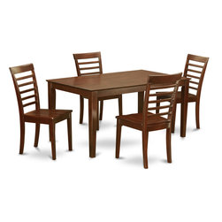 "East West Furniture - Capri 5Pc Rectangular Table and 4 Milan Wood Seat Ladder Back Chairs - Capri dining sets offer your kitchen modern sophistication with a classy and smart aesthetic design.; This Capri table and chairs dinette features a solid wood top for a refined, modern appearance.; Rectangular dining table with four straight legs for a clean and sophisticated modern design.; Stylish dinette manufactured from quality Asian solid wood.; Finished in a rich and luxurious mahogany.; Wood seats or upholstered chairs are available.; Weight: 140 lbs; Dimensions: Table: 60""L x 36""W x 30""H; Chair: 18""L x 17.5""W x 38""H"