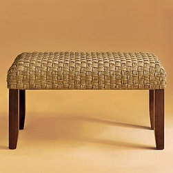 Seagrass Bench - Would you like to add a bit of texture to a room, without making any expensive or dramatic design changes?  Add a seagrass bench made from smooth fiber.  This bench from Gumps is hand-plaited in a beautiful basketweave design.  Perfect for those areas where a little extra seating could come in handy.