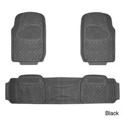 None - Oxgord Diamond Rugged 3-piece All Weather Rubber Floor Mat Set - This Diamond black 3-piece PVC floor mat set features an embossed design and anti-fade coloring that protects against spills, stains, dirt and any debris. It has a non-skid backing making it perfect for many applications.