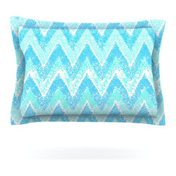 "Kess InHouse - Marianna Tankelevich ""Mint Snow Chevron"" Blue Chevron Pillow Sham (Woven, 30"" x - Pairing your already chic duvet cover with playful pillow shams is the perfect way to tie your bedroom together. There are endless possibilities to feed your artistic palette with these imaginative pillow shams. It will looks so elegant you won't want ruin the masterpiece you have created when you go to bed. Not only are these pillow shams nice to look at they are also made from a high quality cotton blend. They are so soft that they will elevate your sleep up to level that is beyond Cloud 9. We always print our goods with the highest quality printing process in order to maintain the integrity of the art that you are adeptly displaying. This means that you won't have to worry about your art fading or your sham loosing it's freshness."