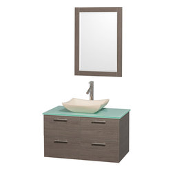 Wyndham - Amare 36in. Wall Vanity Set in Grey Oak w/ Green Glass Top & Ivory Marble Sink - Modern clean lines and a truly elegant design aesthetic meet affordability in the Wyndham Collection Amare Vanity. Available with green glass or pure white man-made stone counters, and featuring soft close door hinges and drawer glides, you'll never hear a noisy door again! Meticulously finished with brushed Chrome hardware, the attention to detail on this elegant contemporary vanity is unrivalled.