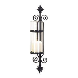 "Koehler Home Decor - Koehler Home Decor Fleur De Les Wall Candle Holder - Wall candle holder in European styling adds a palatial touch of elegance and old world beauty to your home. Ornate matte black metal forms a dramatic backdrop for a crystal-clear column of glass. Add your favorite color pillar candle for instant decorating magic. Metal with glass. Candle not included. 4.25""x 4.5""x 19.75"" high.Material: Metal with glass. Dimension: 4.25""x 4.5""x 19.75"" high."