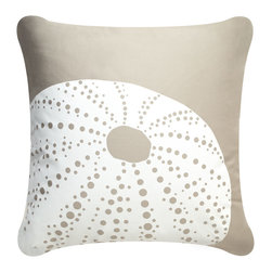 Wabisabi Green - Sea Urchin Eco Pillow, Shell White/Seagrass, With Insert - - GOTS certified soft organic cotton twill fabric.