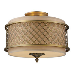 Elk Lighting - Chester 3-Light Semi-Flush in Brushed Antique Brass - The distinguished metal lace pattern, finished in brushed antique brass, is the principle design feature which envelopes a rich cream fabric shade. A frosted amber glass diffuser completes the design while masking the direct light for a warm, ambient radiance.