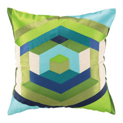 "Trina Turk - Trina Turk Hexagon Blue Embroidered Pillow - Inspired by colorful and vibrant fashion design, Trina Turk infuses home de��_cor with Palm Springs chic. The Hexagon throw pillow delivers joie de vive to a modern room through an exceptional geometric pattern of thick converging lines. 20""W x 20""H; 100% linen; Embroidered in lime, aqua, teal, grass green, olive, navy and lake blue; Handcrafted; Includes 95/5 feather down pillow insert; Dry clean only"