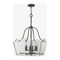 Hinkley - Hinkley-3004OZ-Wingate - Six Light Dinette Chandelier - Wingate offers tradition with a twist: clear floating beveled glass panels surround understated cast round candle cups and candle sleeves. This 4 light fixture in an Oil Rubbed Bronze finish has a modern yet classic style. Mounting Direction: Up Shade Included: Yes Canopy Diameter: 5.00  Oil Rubbed Bronze Finish with Clear Beveled Glass  Lamp Quantity: 6  Lamp Type: Candelabra  Wattage: 60  Voltage: 120  Wire Length: 72.00  Chain Length: 60.00  Material: Metal