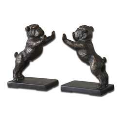 Uttermost - Bulldogs Cast Iron Bookends, Set of 2 - Two bulldogs are twice as adorable with this bookend set. These noble little pups will keep your books safe and add a dash of darling to your room. Finished in distressed bronze with a gray glaze, the cast-iron bookends are a whimsical take on a timeless office necessity.