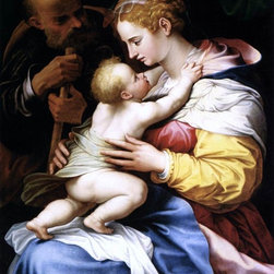 """Girolamo Siciolante Da Sermoneta The Holy Family   Print - 16"""" x 20"""" Girolamo Siciolante Da Sermoneta The Holy Family premium archival print reproduced to meet museum quality standards. Our museum quality archival prints are produced using high-precision print technology for a more accurate reproduction printed on high quality, heavyweight matte presentation paper with fade-resistant, archival inks. Our progressive business model allows us to offer works of art to you at the best wholesale pricing, significantly less than art gallery prices, affordable to all. This line of artwork is produced with extra white border space (if you choose to have it framed, for your framer to work with to frame properly or utilize a larger mat and/or frame).  We present a comprehensive collection of exceptional art reproductions byGirolamo Siciolante Da Sermoneta."""
