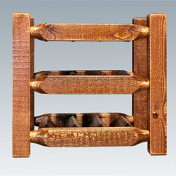 Montana Woodworks - Countertop Wine Rack in Lacquered Finish - 9 bottle capacity. Solid lodge pole pine. Handcrafted with heirloom quality. Sawn squared timber and trim piece. Durable and fit with rustic features. Personally signed by artisans. A+ rating fron BBB. Made from solid US grown wood. Made in USA. No assembly required. 13 in. W x 17 in. D x 15 in. H (12 lbs.). Use and Care Instructions. WarrantyHomestead Collection of fine rustic furniture features timbers and trim pieces similar reminiscent of a timber framed home on the American frontier..From Montana Woodworks, the largest manufacturer of handcrafted quality log furnishings in America comes the all new Homestead Collection line of furniture products. The artisans rough saw all the timbers and accessory trim pieces for a look uniquely reminiscent of the timber-framed homes once found on the American frontier. Display your fine wines in this handcrafted counter top wine rack! This nine bottle capacity rack is the perfect way to nestle your chosen vintages in rustic charm while having them at your fingertips..