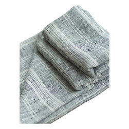 LinenMe - Black Natural Linen Multistripe Hand Towel Set/2 - A top quality black multi striped linen towel that will please anyone, giving an outstandingly soft rub after a bath or shower. Huckaback weaving of the highest standards, plain seam finish. A small external loop added for convenient hanging. Lightweight, stylish and highly absorbent. 100% linen, soft, pre-washed.