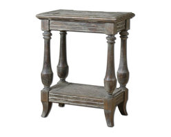 Distressed Rustic Mardonio Distressed Side Table - *Solid Fir Wood With Saw Mark Distressing And A Rustic, Waxed Limestone Finish.